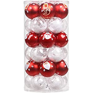 Sea Team 60mm/2.36″ Delicate Contrast Color Theme Painting & Glittering Christmas Tree Pendants Decorative Hanging Christmas Baubles Balls Ornaments Set – 30 Pieces (Red & White Foam)