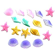 12pk Pastel Sea Creatures Sea Shells Star Fish Ready To Use Hand Crafted Edible Cake / Cupcake Sugar Decoration Toppers