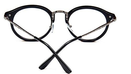 mbryform Retro lunettes rondes frame hommes miroir plaine et les femmes visage religieux sauvages 9580 Monture noir branches grises 6mLgU1i