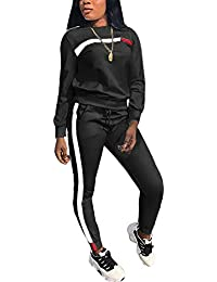 aa1b46101f Women s 2 Piece Outfits - Stripe Patchwork Sweatsuits Long Sleeve Pullover  Sweatshirt Skinny Long Pants Tracksuit
