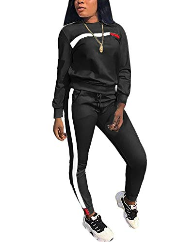 - Women's 2 Piece Outfits - Stripe Patchwork Sweatsuits Long Sleeve Pullover Sweatshirt Skinny Long Pants Tracksuit Set Black XX-Large