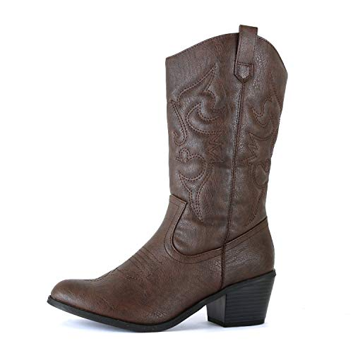 West Blvd Miami Cowboy Western Boots, Brown Pu, 7 -