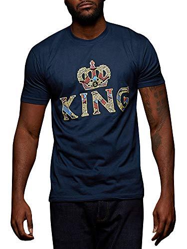 - Gtealife Mens African Print Dashiki T-Shirt King Crown Short Sleeve Tops Dark Blue