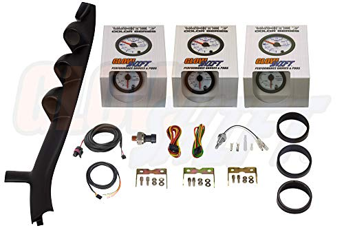 GlowShift Gauge Package for 1987-1993 Ford Mustang GT Hardtop - White 7 Color 100 PSI Oil Pressure, 300 F Water Temperature & Volt Gauges - Black Triple Pillar Pod ()