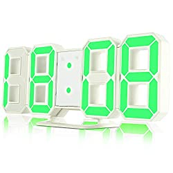 iLifeSmart 3D LED Digital Alarm Clock, Electric Wall Alarm Clock with 3 Adjustable Brightness Levels and Snooze Function, 24/12H Display Clock for Home Decorations - Green