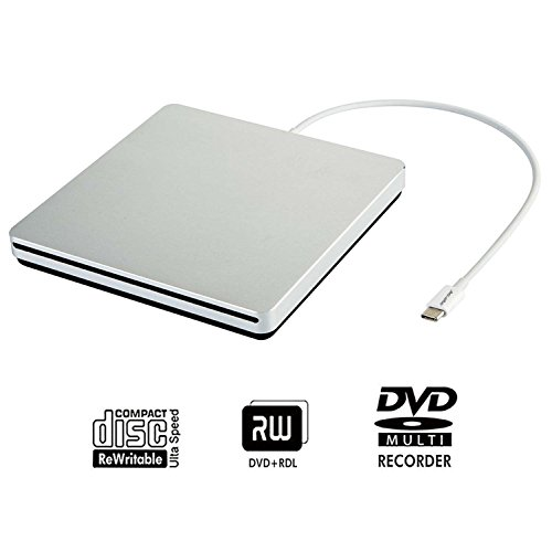 Tengertang usb-c super external drive, portable external CD/ dvd-rw Writer/Player/Burner for the latest macbook/ asus/ asus/ dell latitude/macbook Pro (silver)