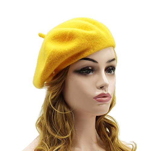 Wheebo Wool Beret Hat,Solid Color French Style Winter Warm Cap for Women Girls Lady (Beret Hat-Dark Yellow-FBA) -