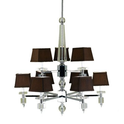 AF Lighting Cluny 9 Light Chandelier with Poly Silk Shade - Af Lighting Silk Chandelier