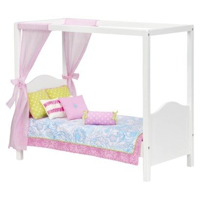 Our Generation My Sweet Canopy Bed - Includes White Bed Frame, Mattress, Pink Tie-back Drapes, Bedspread, and 5 Pillows - Fits A (18 Inch Doll Canopy Bed)