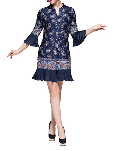 Bitablue Womens Button Down Blouse Tops with Bell Sleeves and Pleated Hem (Navy, Medium)