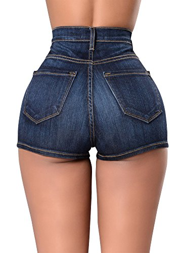 Romacci Sexy Summer Women Denim Shorts Vintage High Waist Jeans Shorts Street Wear Hot Pants Dark Blue/Light Blue by Romacci (Image #2)