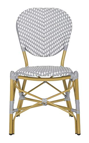 Safavieh PAT4010B-SET2 Outdoor Collection Lisbeth Grey and White French Bistro Stacking Side Chair