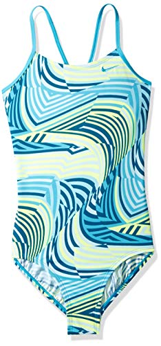 Nike Swim Big Girls' Crossback One Piece Swimsuit, Light Blue Fury Whirl, XL