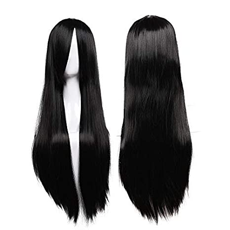 "31.5""(80cm) Pelucas Negras Mujer Pelo Natural con Flequillo Largas Lisas Peluca Sintética"