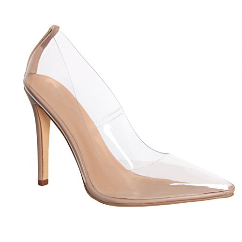 Hell&Heel Clear Stiletto Court Shoes Nude US 11
