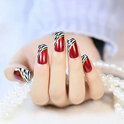 Yunai 24 pcs largo completo, uñas postizas, color francés estilo Ellipse Rojo Vino oblicuo leopardo clavos falsos