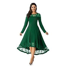 Women Dress,Evansamp Womens Casual Solid Lace Splice Long Sleeve Plus Size Daily Beach Long Dress(Green,XXL)