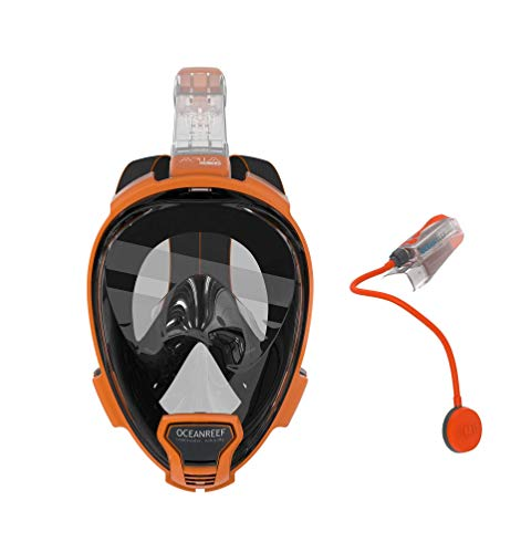 - Ocean Reef QR+ Full Face Snorkel Mask and Snorkel Talkie Combo (Orange, L/XL)
