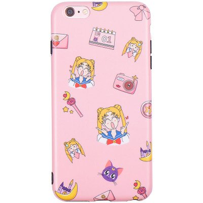 (Slim Fit Smooth Soft TPU Pink Sailor Moon Luna Cat Case for iPhone 6 6s iPhone6 Camera Japan Anime Cartoon Protective Shockproof Hot Cute Lovely Fashion Japanese Gift Little Girls Teens Kids Women)