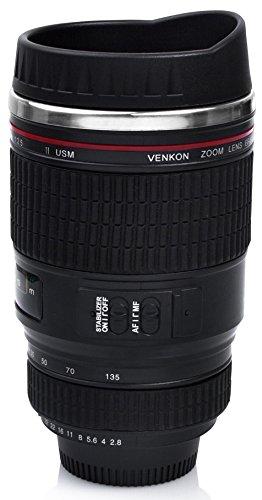 VENKON - Isolierkanne Thermobecher Tasse in Digitalkamera / Teleobjektiv Design - für Kaffee, Tee, Kakao, Milch, Wasser, etc. - 350ml, schwarz