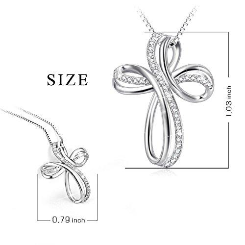 POPLYKE Cross Necklace Sterling Silver Infinity Loop Cross Pendant Necklace Jewelry for Women Men Girls Boys by POPLYKE (Image #1)