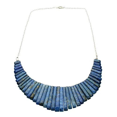 Blue Lapis Stone Fan Dagger Bib Sterling Silver Cable Chain Necklace 18 Inch by Joyful Creations (Image #1)