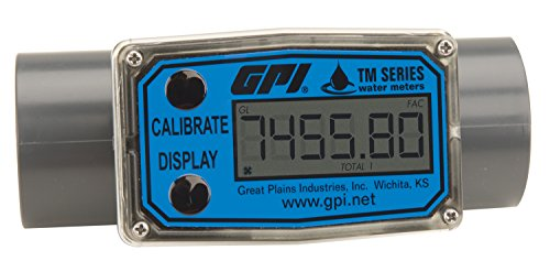 FLOMEC TM150, PVC Turbine Flowmeter for Use with Water & Mild Chemicals, 1.5-Inch Spigot Fitting, 10-100 GPM, LCD Display, +/-3 Percent Accuracy, Durable Schedule 80 ()