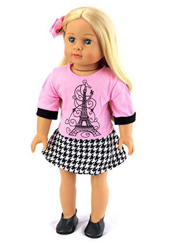 Pink Paris Eiffel Tower Outfit with Shoes like Grace from American Girl | Fits 18