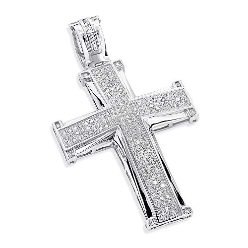 14k White Gold Finish 1.0 ct Cubic Zirconia Diamonds Micro Pave Set Cross Mens Pendant ()
