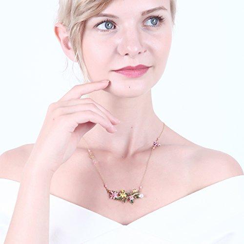 - JUICY GRAPE Ladies Exquisite Cloisonné Handmade Enamel Necklace for Women, Vintage Real Gold, Multi Stones, Colorful Lily Flowers