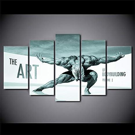 KANGZEDT Pintura sobre lienzo - 5 piezas 150*80CM Arte muscular del cuerpo Cuadro en Lienzo - Abstracto Impresión de 5 Piezas Material Tejido no Tejido Impresión Artística Imagen Gráfica Decoracion de