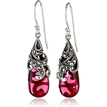 Sterling Silver Oxidized Genuine Marcasite and Red Glass Teardrop Dangle Earrings