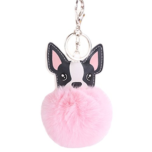 Women's Cute Chihuahua Dog Faux Fur Pom Pom keychain Handbag Purse Jewellry Holder Keyring Backpack Pendants (Pink)