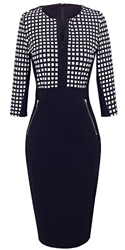 Homeyee Stretch Tunic Pencil Sheath Dress U837 (10, Grid)