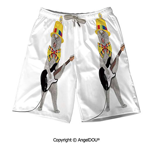 (AngelDOU Men Printed Swim Trunks Running Shorts,Kitchen Decor,Rooster and Floral)