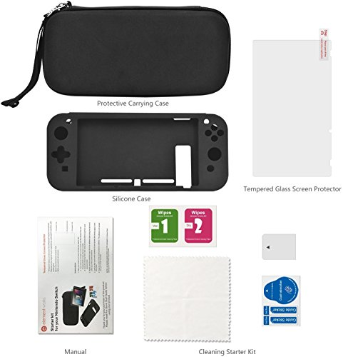 Element Works Nintendo Switch Starter Kit – Black Screen Protector with Case, Perfect For Your Console, Video Game Accessories Kit