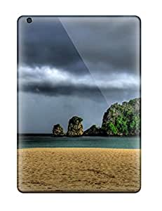 High Impact Dirt/shock Proof Case Cover For Ipad Air (storm Over Island Dark Stormy Clouds Vegetation Sea Nature Other)