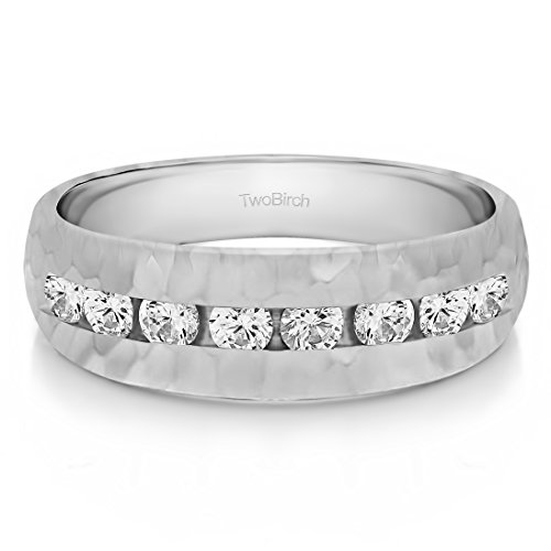 Sterling Silver Mens Wedding Band Forever Brilliant Moissanite(0.45Ct) Size 3 To 15 in 1/4 Size Intervals