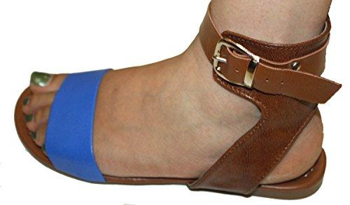 Womens Summer Gladiator Sandals Flats FashionThongs T Straps Ladies Shoes Blue PFoXNhMqLn