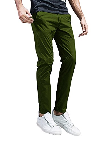 Match Mens Slim-Tapered Flat-Front Casual Pants (40, 8105 Pea Green)