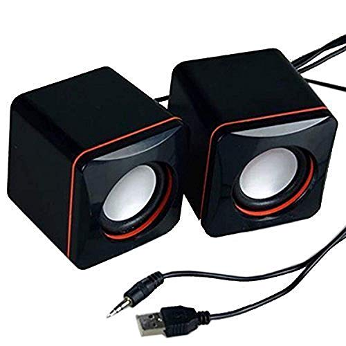 Mylujo Computer Speakers, Portable USB Powered Desktop Mini Speaker Bass Sound Music Player System Wired Small Speaker