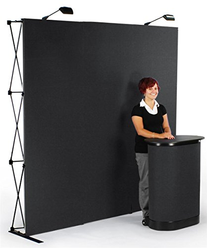 (Displays2go Trade Show Display Booth, Straight 88 Inch Wall - Hook & Loop Fabric Panels (TEPUV8KS))