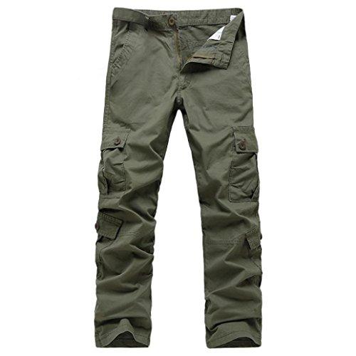 WUAI Clearance Men's Casual Loose Sport Lightweight Hiking Fishing Zip Off Cargo Work Pant (Army Green, 36)
