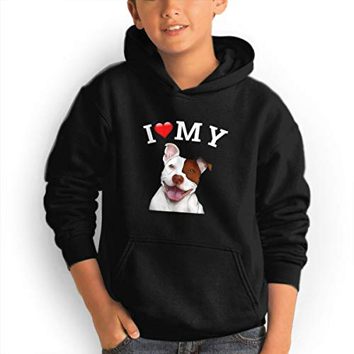 Shenhuakal Youth Hoodies Cute Pitbull Lover Ggirl%Boy Sweatshirts Pullover with Pocket Black 31 by Shenhuakal