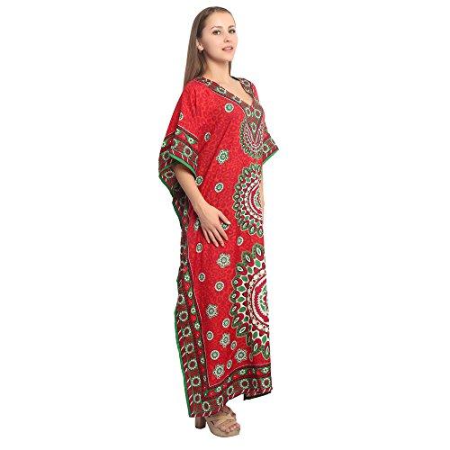 Abito Signore Da Donne Boho Caffettano Superiore Rosso Partito Vestito Tunica Spiaggia Indiano D'estate Hippie afp4pqR
