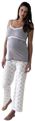 Belabumbum Women's Maternity Starlit 2-Piece and Nursing Cami and Pant Set, Starlit, Large