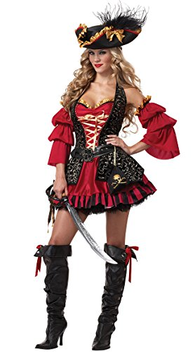 [LOST Halloween Red Luxury Costumes Women's Cosplay Pirate Dress] (Plus Size Sexy Pirate Costumes)