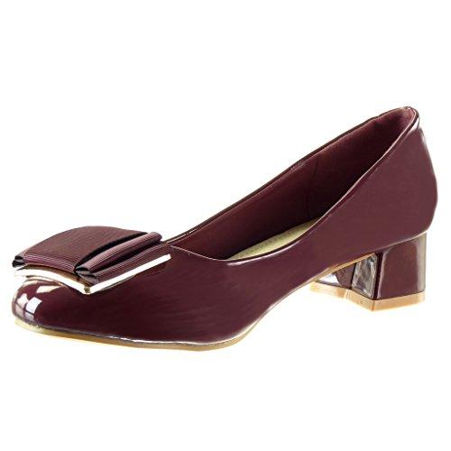 Mode Chaussure Bordeaux Slip Haut 4 Noeud Verni Angkorly Cm Decolleté Bloc Talon Femme Escarpin on a5wdTqU6x