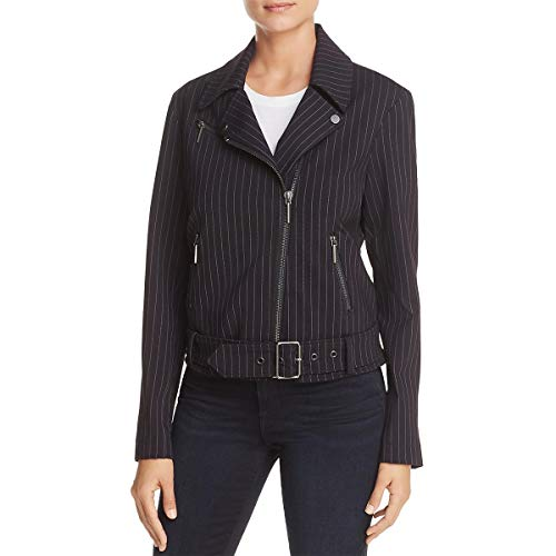 Kenneth Cole Women's Pinstripe Moto Jacket, Small