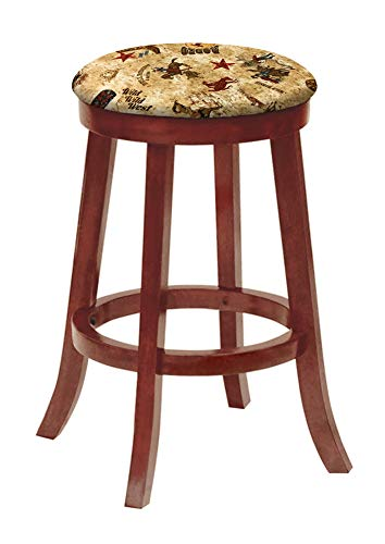 "The Furniture Cove Bar Stool Cherry Finish Wood 24"" Tall Kitchen Game Room Swivel Seat Stool Featuring The Choice of Your Favorite Novelty Theme Fabric Covered Seat Cushion (Rodeo)"